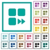 Component fast forward flat color icons with quadrant frames - Component fast forward flat color icons with quadrant frames on white background