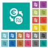 Euro new Shekel money exchange square flat multi colored icons - Euro new Shekel money exchange multi colored flat icons on plain square backgrounds. Included white and darker icon variations for hover or active effects.