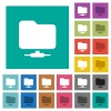 Network folder square flat multi colored icons - Network folder multi colored flat icons on plain square backgrounds. Included white and darker icon variations for hover or active effects.