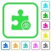 Camera plugin vivid colored flat icons - Camera plugin vivid colored flat icons in curved borders on white background