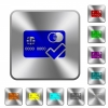 Accept credit card rounded square steel buttons - Accept credit card engraved icons on rounded square glossy steel buttons