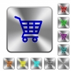 Shopping cart rounded square steel buttons - Shopping cart engraved icons on rounded square glossy steel buttons
