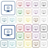 Adjust screen brightness outlined flat color icons - Adjust screen brightness color flat icons in rounded square frames. Thin and thick versions included.