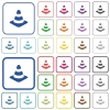 Traffic cone outlined flat color icons - Traffic cone color flat icons in rounded square frames. Thin and thick versions included.