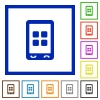 Mobile applications flat framed icons - Mobile applications flat color icons in square frames on white background