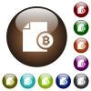 Bitcoin financial report color glass buttons - Bitcoin financial report white icons on round color glass buttons