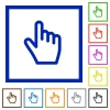 Hand cursor flat framed icons - Hand cursor flat color icons in square frames on white background