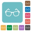 Eyeglasses rounded square flat icons - Eyeglasses white flat icons on color rounded square backgrounds