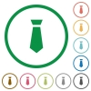 Tie flat icons with outlines - Tie flat color icons in round outlines on white background