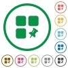 Pin component flat icons with outlines - Pin component flat color icons in round outlines on white background