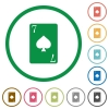 Seven of spades card flat icons with outlines - Seven of spades card flat color icons in round outlines on white background