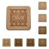 DivX movie format wooden buttons - DivX movie format on rounded square carved wooden button styles