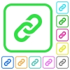 Link vivid colored flat icons in curved borders on white background - Link vivid colored flat icons