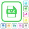 BAK file format vivid colored flat icons - BAK file format vivid colored flat icons in curved borders on white background