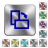 Rotate right rounded square steel buttons - Rotate right engraved icons on rounded square glossy steel buttons