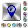 Voice navigation rounded square steel buttons - Voice navigation engraved icons on rounded square glossy steel buttons