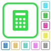 Calculator vivid colored flat icons - Calculator vivid colored flat icons in curved borders on white background