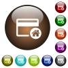 Set credit card as default color glass buttons - Set credit card as default white icons on round color glass buttons
