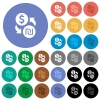 Dollar new Shekel money exchange round flat multi colored icons - Dollar new Shekel money exchange multi colored flat icons on round backgrounds. Included white, light and dark icon variations for hover and active status effects, and bonus shades on black backgounds.