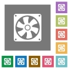 Computer fan square flat icons - Computer fan flat icons on simple color square backgrounds