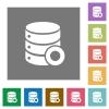 Database macro record square flat icons - Database macro record flat icons on simple color square backgrounds