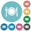 Dinner flat round icons - Dinner flat white icons on round color backgrounds