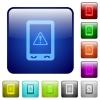 Mobile data traffic color square buttons - Mobile data traffic icons in rounded square color glossy button set