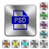 PSD file format rounded square steel buttons - PSD file format engraved icons on rounded square glossy steel buttons