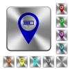 Route planning GPS rounded square steel buttons - Route planning GPS engraved icons on rounded square glossy steel buttons