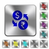 Dollar Rupee money exchange rounded square steel buttons - Dollar Rupee money exchange engraved icons on rounded square glossy steel buttons