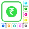 Indian Rupee sticker vivid colored flat icons - Indian Rupee sticker vivid colored flat icons in curved borders on white background
