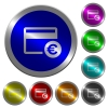 Euro credit card luminous coin-like round color buttons - Euro credit card icons on round luminous coin-like color steel buttons