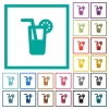 Longdrink flat color icons with quadrant frames - Longdrink flat color icons with quadrant frames on white background