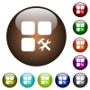 Component tools color glass buttons - Component tools white icons on round color glass buttons
