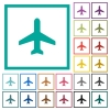 Airplane flat color icons with quadrant frames - Airplane flat color icons with quadrant frames on white background