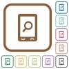 Mobile search simple icons - Mobile search simple icons in color rounded square frames on white background