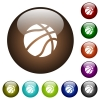 Basketball color glass buttons - Basketball white icons on round color glass buttons