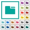 Tab folder flat color icons with quadrant frames - Tab folder flat color icons with quadrant frames on white background