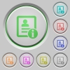 Contact information color icons on sunk push buttons - Contact information push buttons