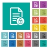 Unlock document square flat multi colored icons - Unlock document multi colored flat icons on plain square backgrounds. Included white and darker icon variations for hover or active effects.