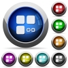 Link component round glossy buttons - Link component icons in round glossy buttons with steel frames