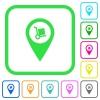 Parcel delivery GPS map location vivid colored flat icons - Parcel delivery GPS map location vivid colored flat icons in curved borders on white background