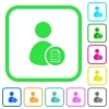 User account properties vivid colored flat icons - User account properties vivid colored flat icons in curved borders on white background