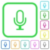 Microphone vivid colored flat icons - Microphone vivid colored flat icons in curved borders on white background