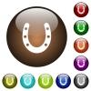 Horseshoe color glass buttons - Horseshoe white icons on round color glass buttons