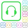 Headset with microphone vivid colored flat icons - Headset with microphone vivid colored flat icons in curved borders on white background