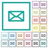 Message flat color icons with quadrant frames - Message flat color icons with quadrant frames on white background