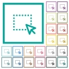 Drag and drop operation flat color icons with quadrant frames - Drag and drop operation flat color icons with quadrant frames on white background
