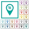 Workshop service GPS map location flat color icons with quadrant frames - Workshop service GPS map location flat color icons with quadrant frames on white background