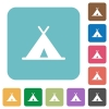 Tent rounded square flat icons - Tent white flat icons on color rounded square backgrounds